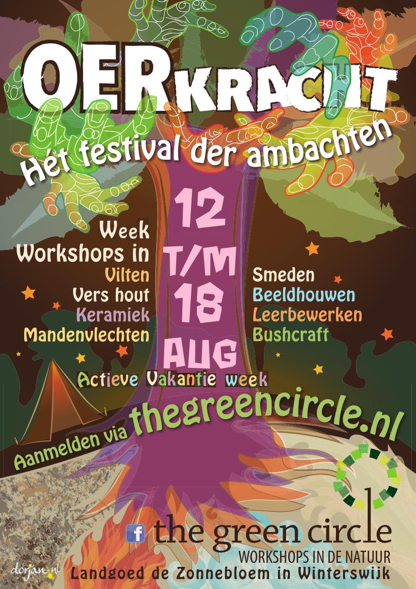 PosterOerkracht-2018-The-Green-Circle-Het-festival-der-ambachten-Aktieve-vakantie-week.